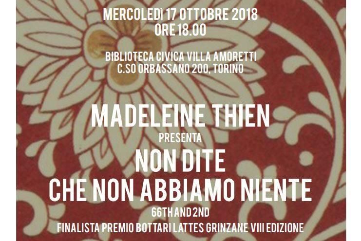 17 ottobre leggermente incontra Madeleine Thien